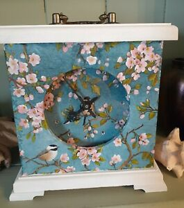 Hand Made and Painted Blue Bird and Blossom Mantle Clock Unique Art