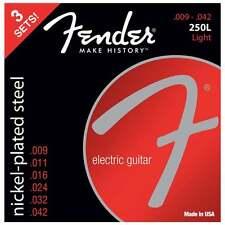 Fender 250L Nickel Plated Steel Electric Guitar Strings - Light - 9-42 - 3 Pack