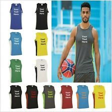 Mens Personalised Gym Running Vest Gym Tank Top Custom Printed Workout JC008