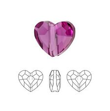 Swarovski Crystal Faceted Love Beads Heart 5741 Fuchsia  8mm Package of 2