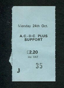 1977 AC/DC Bon Scott concert ticket stub Let There Be Rock Tour Manchester UK