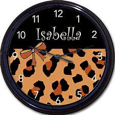 Hot Leopard & Black Custom Personalized Clock Girl Animal Skin Bedroom New!