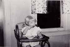 Vintage Antique Photograph Adorable Baby Sitting In High Chair Eating From Bowl