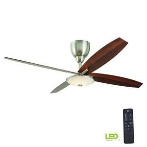 HDC Bailey 56 in. LED Indoor Brushed Nickel Ceiling Fan with Light Kit-Remote C.