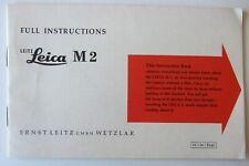1958 Leitz Leica M2 Camera Instruction Manual Techniques Accessories Specs 31pg