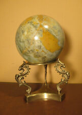 Marble Ball Gray Brown Stone on Brass Seahorse Stand Art Decor