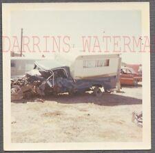 Vintage Photo Unusual 1960s Dodge Truck Wreck w/ Camper 764102