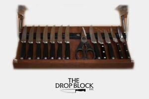 Drop Block Under Cabinet Knife Storage Rack - Small, Cherry
