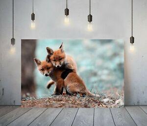 LITTLE FOX 1- DEEP FRAMED CANVAS WALL ART PICTURE PRINT- ANIMAL ORANGE GREEN