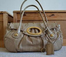 Rare DOLCE & GABBANA tan beige eel leather gold O-ring satchel bag purse $2k+