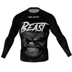 HighType Beast Long Sleeve Rash Guard BJJ MMA Fightwear