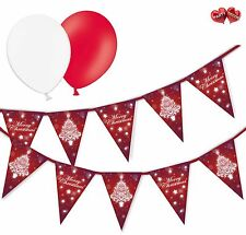 Christmas Bundle Christmas Tree Bunting Banner 15 flags & 8 Asst latex balloons