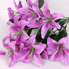 Silk Flower Artificial Lilies Bouquet 10 Heads Home Table Wedding Floral Decor