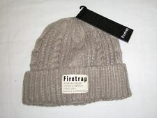 BNWT - FIRETRAP Cable Knit Beanie Hat  Taupe Brown