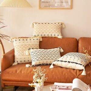 Hand-Woven Tufted and Tasseled Throw Pillow Covers for Sofa Bed Bedroom-