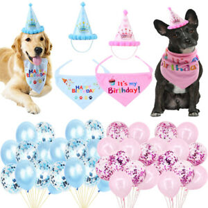 Dog Cat Pet Happy Birthday Hat Bandana Neckerchief Ties Balloons Party Decor UK