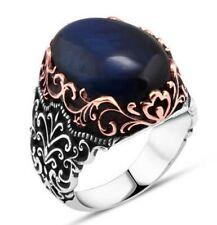 K61S KAR 925 Sterling Silver Sapphire Enameled Stone Ottoman Mens Ring 12.25