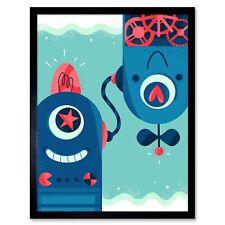 Robot Friends Art Print Framed Poster Wall Decor 12X16 Inch
