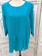 CHRISTOPHER CALVIN Size S M Bright Turquoise Blue Lagenlook Textured Tunic Petal