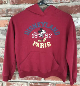 Mickey Mouse Disneyland Paris Kids Hoodie Red Size 12 A Spell Out est. 1992