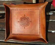 Personalized Leather Valet Tray. Compass Rose Desk Tray, Change tray, Bowl.