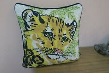 "Vintage Handmade Finished Needlepoint Cushion Pillow 13"" x 13""  Tiger Cat"