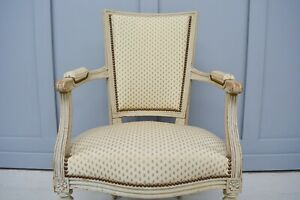 Upholstered French Country Fauteuil Armchair
