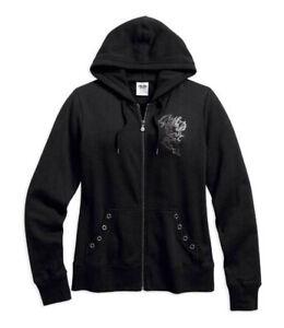 Harley-Davidson® Women's Embellished Scroll Skull Hoodie, Black 99162-16VW Med