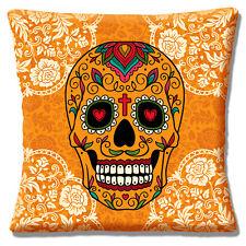 Mexican Sugar Skull Cushion Cover 16x16 40cm Retro Day of the Dead Orange Multi