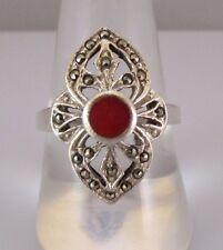 EST Sterling Silver 925 Red Enamel Center w/ Marcasites Filigree Design Ring