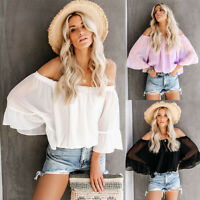 Womens Chiffon Solid Tops Off Shoulder Flare Sleeve T-shirt Summer Loose Blouse