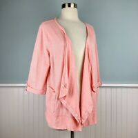 Size Large L Ann Taylor Pink Striped Open Waterfall Cardigan Sweater Jacket Top