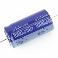 2X Nichicon 1000uf 50V Aluminum Electrolytic Cap 85C ufd Axial Lead - NEW