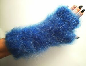 3Days Offer!Long Hair Soft Fuzzy,Thick Hand Knit,Luxury 90% Wendy Mohair Mittens