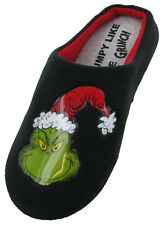 Grinch Velour Mule Slippers Novelty Mens Slip On Warm Fun Black Character