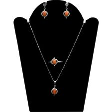 Orange Fire Opal Natural Gemstone 925 Sterling Silver Set Ring Earring Necklace