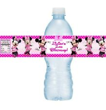 12 Minnie Mouse Clubhouse Birthday Party Baby Shower Water Bottle Stickers Pink