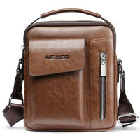 WEIXIER Men's Leather Messenger Briefcase Bags Cross body Handbag Shoulder Bag