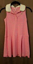 LILLY PULITZER Polo Sleeveless Cotton Dress Girl Pink Striped Palm Logo - Size 7