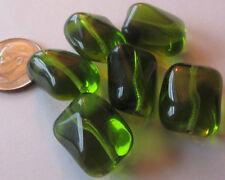 30 Czech Glass Peridot Green Huge Puffy Twisted Rectangle Beads 17mm x 14mm