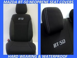 FITS MAZDA BT-50 MK1 MK2  FRONT&REAR SPORTS NEOPRENE SEAT COVERS -WETSUIT FABRIC