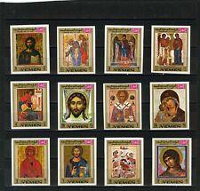 Yémen Kingdom 1969 Noël Tableaux / Icônes Lot de 12 Timbres Imperfection MNH