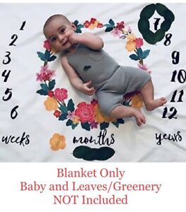 Milestone Blanket for Photography Prop - Monthly Photo Backdrop for Baby Floral