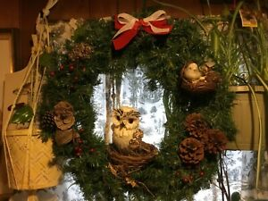 """Handmade In Vermont Wreath w/ owl, birdie, nests, pinecones,Nature Rustic* 20"""""""