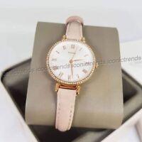 NWT 🌸 Fossil ES4445 Kinsey Quartz Three-Hand Crystals Blush Pink Leather Watch