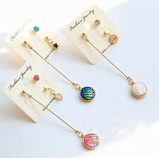 3X Rhinestone Mermaid Resin Round Copper Ear Stud Earrings Jewelry Gift w.~,