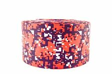 """3"""" Wide Navy and Red Digital Camo Printed on Grosgrain Cheer Bow Ribbon"""
