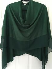 Emerald Green Light Weight Soft Wool Blend Poncho / Cover Up With Chiffon Panel