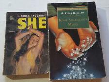 2 book lot 1949 SHE H. RIDER HAGGARD Marchetti Mapback Dell king solomon's mines