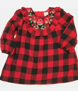 Baby Gap Girls Winter Red Buffalo Check Plaid Dress Embroidered Floral 3-6 Month